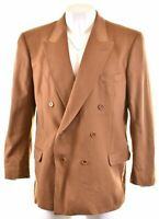 JAEGER Mens Double Breasted Blazer Jacket Size 58 5XL Brown Cashmere Slim Fit
