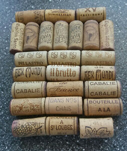 25 USED WINE BOTTLE CORKS WITH LOGOS NATURAL CORK CRAFT UPCYCLING