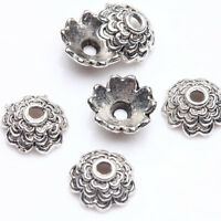 100Pcs Tibet Silver Flower Spacer Bead Caps Jewelry Findings Making 8x3mm DIY