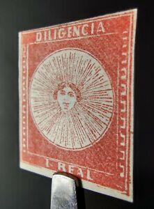 URUGUAY STAMP 1856 1r CARMINE-VERMILION DILIGENCIA CARRIER Sc#3a, MINT OG, F/VF