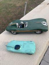 Vintage Dinky Toy 238 Jaguar D Type Race Car & Other Green Plastic Jaguar