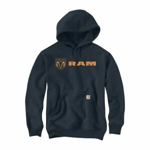 Men's Official Dodge Ram Orange Logo Carhartt Force Large Black Hoodie