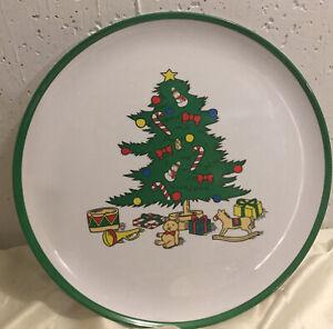 Large Round Christmas Melamine Serving Tray, Platter, Santa, Reindeer, New