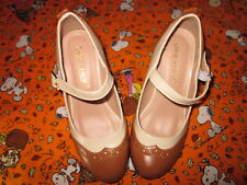 Womens Mid Heel Two Tone Mary Jane Pumps Tan and White