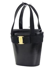 Authentic SALVATORE FERRAGAMO Vara Ribbon Black Leather Hand Bag #29304