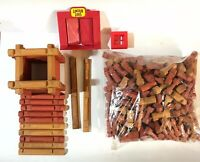 Lincoln Logs HUGE Lot 292 Pieces Including Door/window Red And Brown Pieces