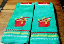 2 ST NICHOLAS SQUARE GREEN PUPPY DOG GIFT BOX RICK RACK HAND TOWELS