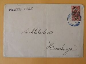 ECUADOR overprint revenue cover postaly used 1903 sent to Hamburg, fiscal tax
