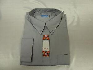 Silver Grey  Cotton Poly Long /Sleeve Oxford Shirt  3X/L 19.5 Neck