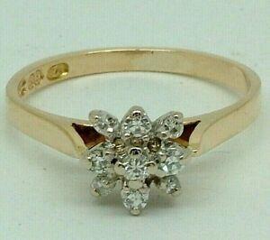 Stunning 14K Yellow Gold 0.20ct Carat Diamond Ladies Engagement Ring 14ct 585