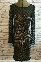 PHASE EIGHT Black Dress Mesh big dot Lace Polka Party ruched Women's 10 uk