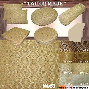 We63 -Beige Tan Eye Flora Damask Bolster Case/Pillow/Sofa Seat Cushion Cover