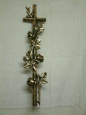 Alt Bronze Kreuz Rosen Ranke Grabschmuck Religiös Sakral  Cross Roses  Religious