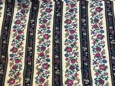 6 1/3 YARDS OF VINTAGE VIP BLUE, CREAM & PINK FLOWERS & STRIPES COTTON FABRIC