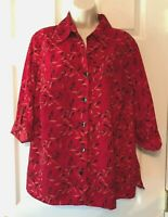 George Women's Blouse Plus Size 1X Red Black 3/4 Sleeve Button Down Shirt Top