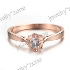 Simple Style 14K Rose Gold 5.5mm Round Morganite Wedding Ring Cathedral Setting