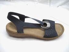 Rieker size 40 9M black strappy womens ladies comfort sandals shoes