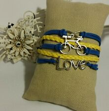 Fashion Leather Bracelet Blue Yellow Infinity Love Charm Jewelry Silver USSeller