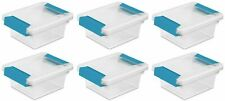 6 Pack  Sterilite 19698606 CLEAR OFFICE WORK HOME Mini Clip Storage Box