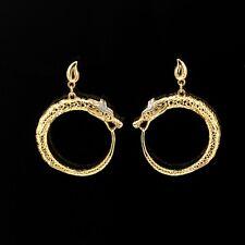Boucles d'Oreilles Clous Doré Art Deco Dragon Cercle Art Deco Plaqué Or 18K QD3