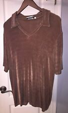 Addition Elle Tricot Brown Slinky V Neck Career Top Shirt Women's Plus Size 2X