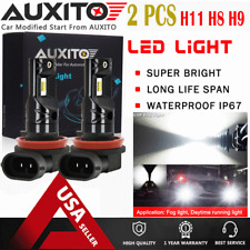 2X AUXITO H8 H11 H9 Fog Light Super Bright 6000K 2400lm White CSP SMD LED bulb A