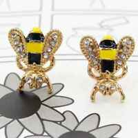 1 Pair Small Bee Crystal Insect Stud Fashion Women Girls Animal Earrings jewelry
