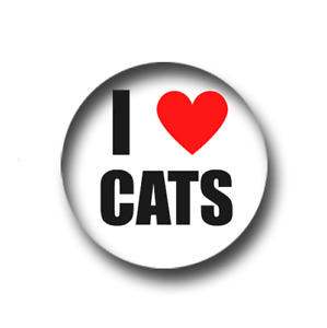 I LOVE CATS PIN BADGE (1 inch / 25mm) CHEAP POSTAGE FOR BULK BUYS