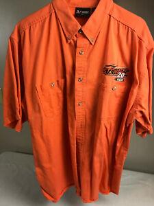 Chase Authentics Tony Stewart #20 Orange Short Sleeve Button Up Shirt 2XL NEW