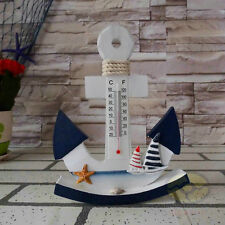 "Nautical decor (Tall 8.2"")Wood Ship Stock Anchor with Thermometer Wall Hanging"