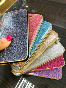 Bling Shiny Glitter Leather Stand Wallet Card Case Cover Apple iPhone 13 models