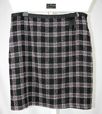 Requirements Retro Glam Black Pink Plaid Tweed Skirt - Size 18