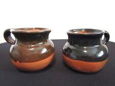 Set of 2 Handmade Mexican Pottery Brown & Black Terra Cotta Mug Cup
