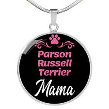 Parson Russell Terrier Mama Necklace Circle Pendant Stainless Steel Or 18K Gold