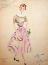 1958 Female costume design wc drawing signed