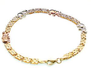 """9ct geprägt 3 Farbe Gold Elefant Design Panther Armband - 18.25cm 7.25"""""""