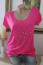 Basic T-Shirt Borchie Strass Stella Vintage Lurex-Kanten Fucsia Taglia Unica 36