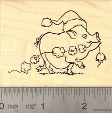 Christmas Pot-bellied Pig in Santa Hat Rubber Stamp J15010 WM