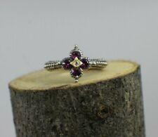 Barbara Bixby 925 SS & 18k YG Rhodolite Garnet Ring Size 10 Two-Tone