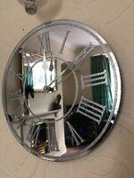 SILVER SPARKLE GLITTER MIRRORED WALL CLOCK ROMAN NUMBER GLASS WALL CLOCK NEW