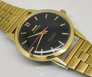hmt sona hand winding men's gold plated black dial vintage india watch run