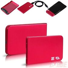 "Aluminum 2.5"" USB 3.0 SATA HDD Hard Drive Disk External Case Box Enclosure Red"