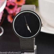 FL:Damen Herren Uhr Armbanduhr Quarzuhr Metallband Analog Schwarz Mode Watch