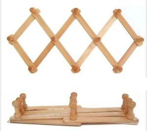 2 x 10 Peg Wooden hanger Expandable Wooden Coat Rack Hat Closet Hook