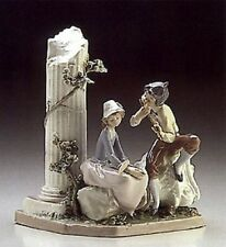 "Rare Hard to Find Lladro ""Lovers Serenade"" #5382 Boy Playing Flute for Girl"