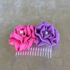 Girls or ladies handmade fabric flower hair comb - pink and lilac roses
