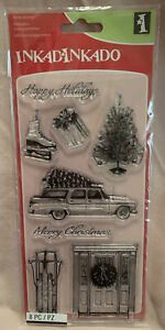 Inkadinkado Clear Stamps Home For Christmas Sled Wreath Tree Car Holidays NEW