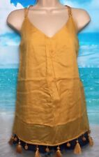 NEW NEXT 10 tall gold orange pom pom tassel fringe sleeveless tunic top festival