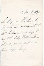 Morning Post owner SIR ALGERNON BORTHWICK 1895 AUTOGRAPH NOTE British Journalist