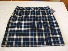 Women's Missy Laura Scott New Blue Plaid Skirt Size Medium NEW W Tags